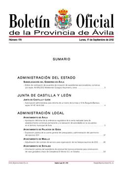 Boletín Oficial de la Provincia del lunes, 17 de septiembre de 2012