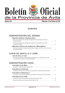 Boletín Oficial de la Provincia del miércoles, 17 de octubre de 2012