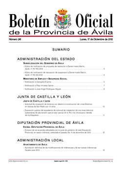 Boletín Oficial de la Provincia del lunes, 17 de diciembre de 2012