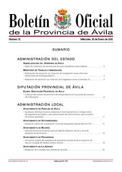 Boletín Oficial de la Provincia del jueves, 2 de febrero de 2012