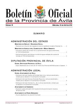 Boletín Oficial de la Provincia del miércoles, 18 de abril de 2012