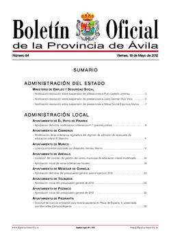 Boletín Oficial de la Provincia del viernes, 18 de mayo de 2012