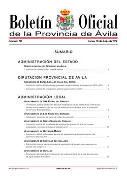 Boletín Oficial de la Provincia del lunes, 18 de junio de 2012