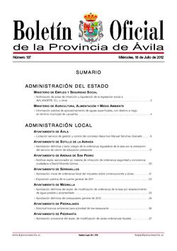 Boletín Oficial de la Provincia del miércoles, 18 de julio de 2012