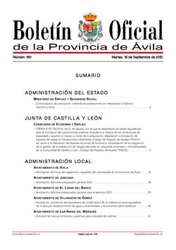 Boletín Oficial de la Provincia del martes, 18 de septiembre de 2012