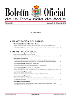 Boletín Oficial de la Provincia del jueves, 18 de octubre de 2012