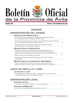 Boletín Oficial de la Provincia del martes, 18 de diciembre de 2012