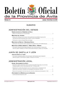 Boletín Oficial de la Provincia del lunes, 6 de febrero de 2012