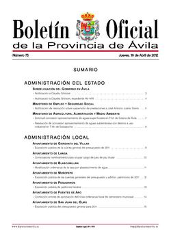 Boletín Oficial de la Provincia del jueves, 19 de abril de 2012