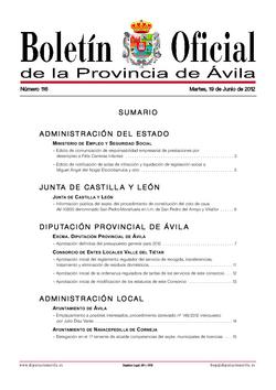 Boletín Oficial de la Provincia del martes, 19 de junio de 2012