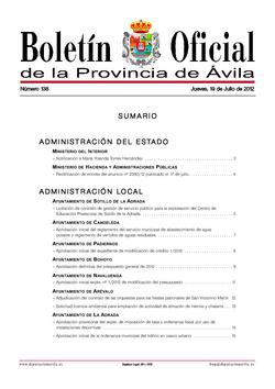 Boletín Oficial de la Provincia del jueves, 19 de julio de 2012