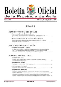 Boletín Oficial de la Provincia del miércoles, 19 de septiembre de 2012