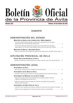 Boletín Oficial de la Provincia del viernes, 19 de octubre de 2012