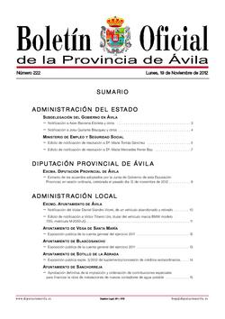 Boletín Oficial de la Provincia del lunes, 19 de noviembre de 2012