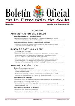 Boletín Oficial de la Provincia del miércoles, 19 de diciembre de 2012