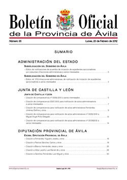 Boletín Oficial de la Provincia del lunes, 20 de febrero de 2012
