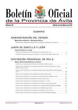 Boletín Oficial de la Provincia del martes, 20 de marzo de 2012