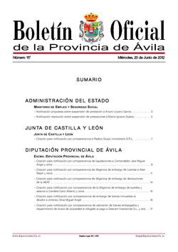 Boletín Oficial de la Provincia del miércoles, 20 de junio de 2012