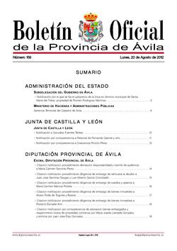 Boletín Oficial de la Provincia del lunes, 20 de agosto de 2012