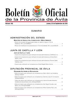 Boletín Oficial de la Provincia del jueves, 20 de septiembre de 2012