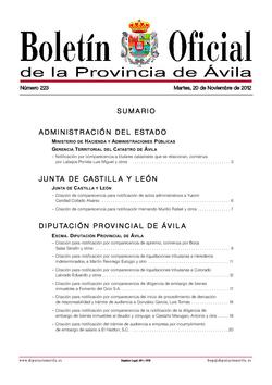 Boletín Oficial de la Provincia del martes, 20 de noviembre de 2012