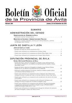 Boletín Oficial de la Provincia del jueves, 20 de diciembre de 2012
