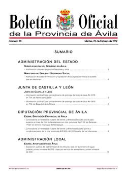 Boletín Oficial de la Provincia del martes, 21 de febrero de 2012