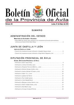 Boletín Oficial de la Provincia del lunes, 21 de mayo de 2012