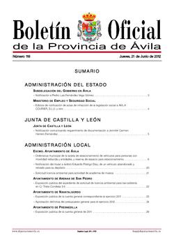 Boletín Oficial de la Provincia del jueves, 21 de junio de 2012