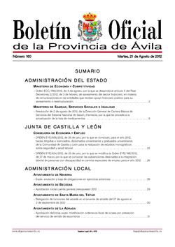 Boletín Oficial de la Provincia del martes, 21 de agosto de 2012