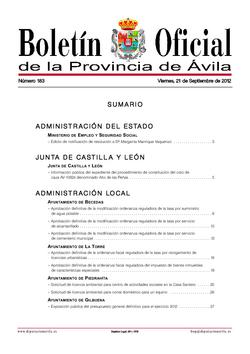 Boletín Oficial de la Provincia del viernes, 21 de septiembre de 2012