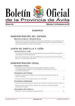 Boletín Oficial de la Provincia del miércoles, 21 de noviembre de 2012