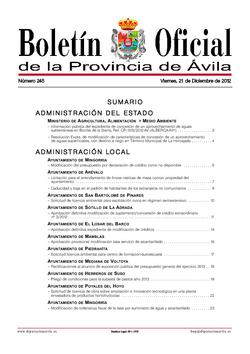 Boletín Oficial de la Provincia del viernes, 21 de diciembre de 2012