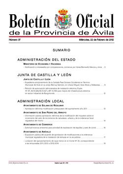 Boletín Oficial de la Provincia del miércoles, 22 de febrero de 2012