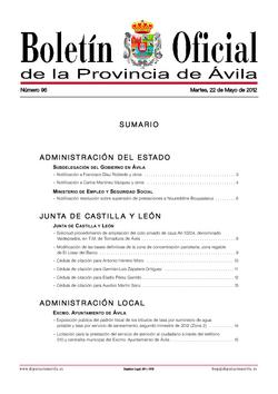 Boletín Oficial de la Provincia del martes, 22 de mayo de 2012
