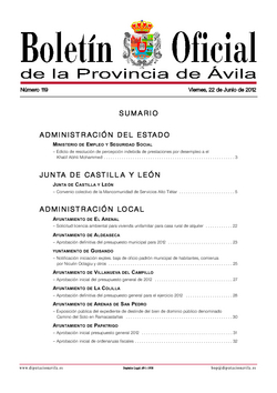 Boletín Oficial de la Provincia del viernes, 22 de junio de 2012