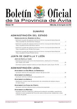 Boletín Oficial de la Provincia del miércoles, 22 de agosto de 2012