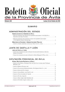 Boletín Oficial de la Provincia del lunes, 22 de octubre de 2012