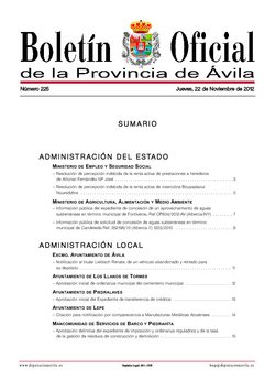 Boletín Oficial de la Provincia del jueves, 22 de noviembre de 2012