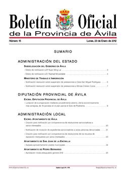 Boletín Oficial de la Provincia del miércoles, 1 de febrero de 2012