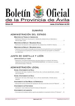 Boletín Oficial de la Provincia del jueves, 23 de febrero de 2012