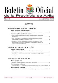 Boletín Oficial de la Provincia del viernes, 23 de marzo de 2012