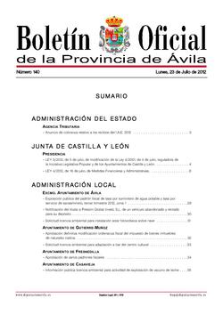 Boletín Oficial de la Provincia del lunes, 23 de julio de 2012