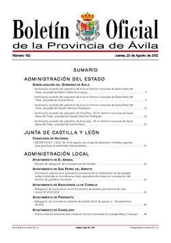 Boletín Oficial de la Provincia del jueves, 23 de agosto de 2012