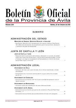 Boletín Oficial de la Provincia del martes, 23 de octubre de 2012