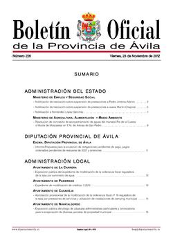 Boletín Oficial de la Provincia del viernes, 23 de noviembre de 2012
