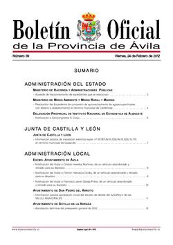 Boletín Oficial de la Provincia del viernes, 24 de febrero de 2012