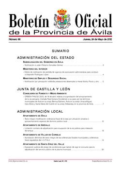 Boletín Oficial de la Provincia del jueves, 24 de mayo de 2012