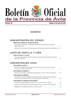 Boletín Oficial de la Provincia del martes, 24 de julio de 2012