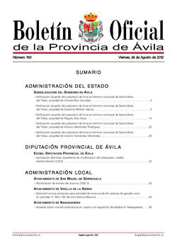 Boletín Oficial de la Provincia del viernes, 24 de agosto de 2012